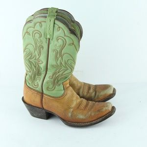 Ariat Brown Green Distressed Worn Cowgirl Boots 7